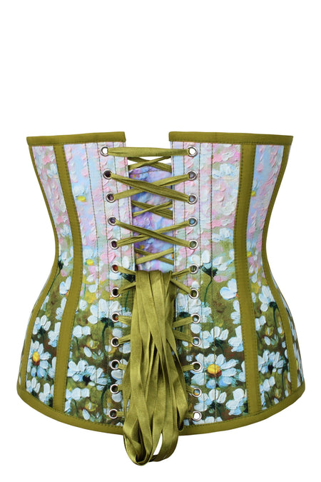 Olive Green Daisy Print Underbust Corset