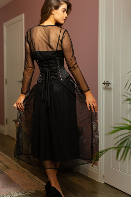 Floral Print Black Tulle Evening Dress