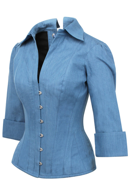 Tailored Denim Corset Shirt