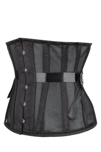 Black Mesh Underbust Corset with Fan Lacing