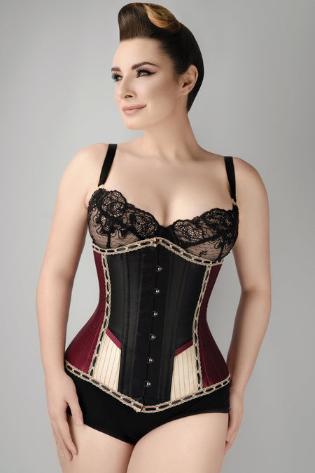Burgundy Victorian Circus Inspired Longline Underbust
