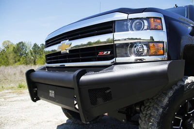 Fab Fours CH05-Q1361-1 Chevy Silverado 2500/3500 2003-2007 Black Steel Elite Front Ranch Bumper No Guard with Tow Hooks-BumperStock