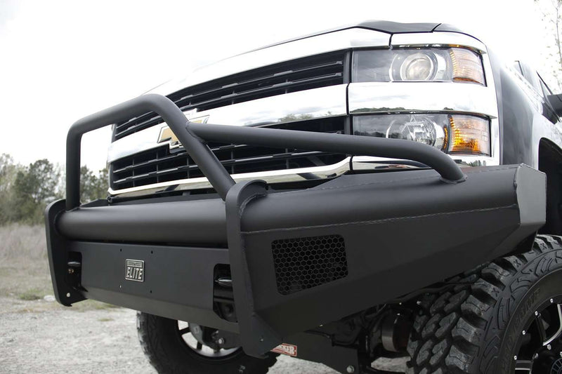 Fab Fours CH08-Q2062-1 2007.5-2010 Chevy Silverado 2500/3500 HD Black Steel Elite Front Bumper Pre-Runner Guard-BumperStock