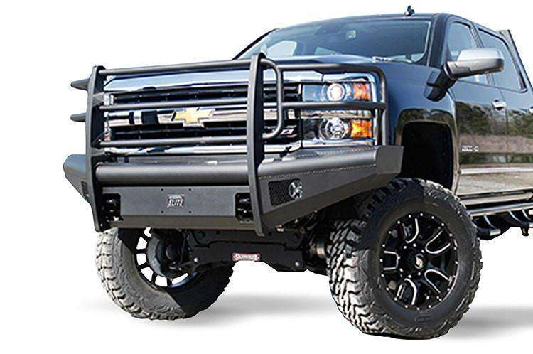 Fab Fours CH14-Q3060-1 2015-2019 Chevy Silverado 2500/3500 HD Black Steel Elite Front Bumper Full Guard-BumperStock