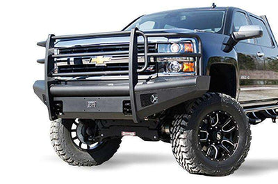 Fab Fours CH14-Q3060-1 Chevy Silverado 2500/3500 2015-2018 Black Steel Elite Front Ranch Bumper Full Guard with Tow Hooks-BumperStock
