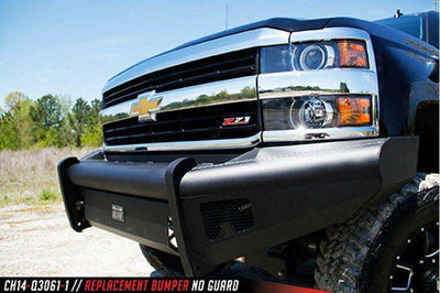 Fab Fours CH14-Q3061-1 Chevy Silverado 2500/3500 2015-2018 Black Steel Elite Front Ranch Bumper No Guard with Tow Hooks-BumperStock