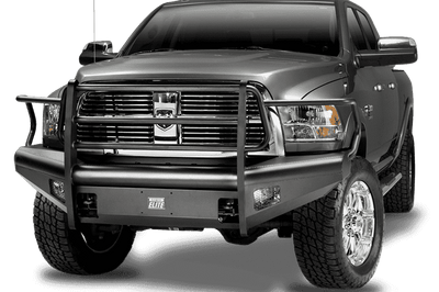 Fab Fours DR06-Q1160-1 Dodge Ram 2500/5500 2006-2009 Black Steel Elite Front Ranch Bumper Full Guard with Tow Hooks-BumperStock