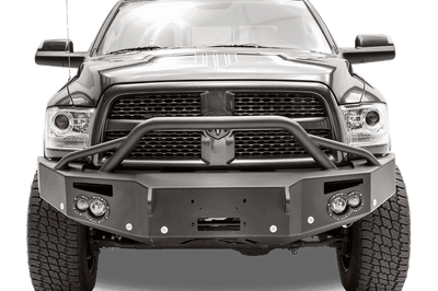 Fab Fours DR16-C4052-1 Dodge Ram 2500/3500/4500/5500 2016-2018 Premium Winch Ready Front Bumper Pre-Runner Guard with Sensor-BumperStock
