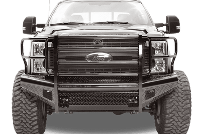 Fab Fours FS08-S1960-1 Ford F250/F350 F450/F550 2008-2010 Black Steel Front Bumper with Full Guard-BumperStock