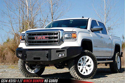 Fab Fours GS14-H3151-1 GMC Sierra 1500 2014-2015 Premium Front Bumper Winch Ready no Grill Guard-BumperStock