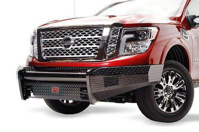 Fab Fours NT16-K3761-1 Nissan Titan Black Steel Front Bumper with No Guard with Tow Hooks-BumperStock
