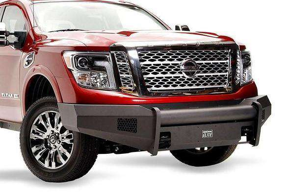 FAB FOURS NT16-R3761-1 NISSAN TITAN XD 2016-2020 BLACK STEEL ELITE FRONT BUMPER NO GUARD WITH TOW HOOKS