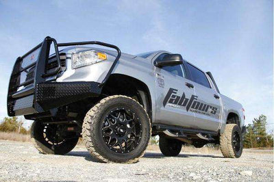 Fab Fours TT07-K1860-1 Toyota Tundra Black Steel Front Bumper with Full Guard with Tow Hooks-BumperStock