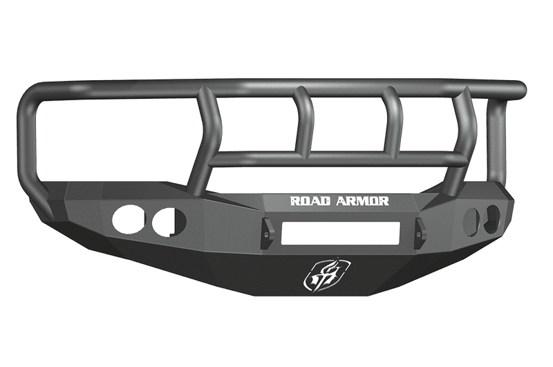 Road Armor 44062B-NW 2006-2009 Dodge Ram 2500/3500/4500/5500 Non-Winch Front Bumper with Titan II Guard and Round Light Holes - Satin Black-BumperStock