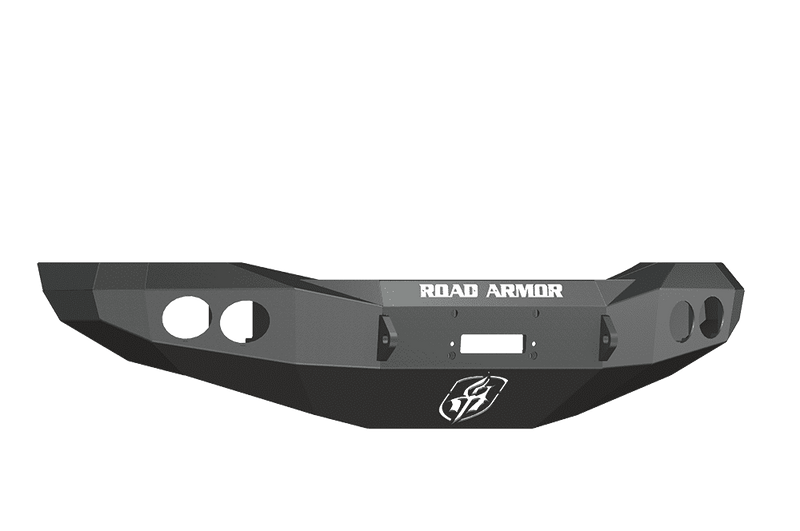 Road Armor 44070B 2006-2008 Dodge Ram 1500 Winch Front Bumper with Base Guard and Round Light Holes - Satin Black-BumperStock