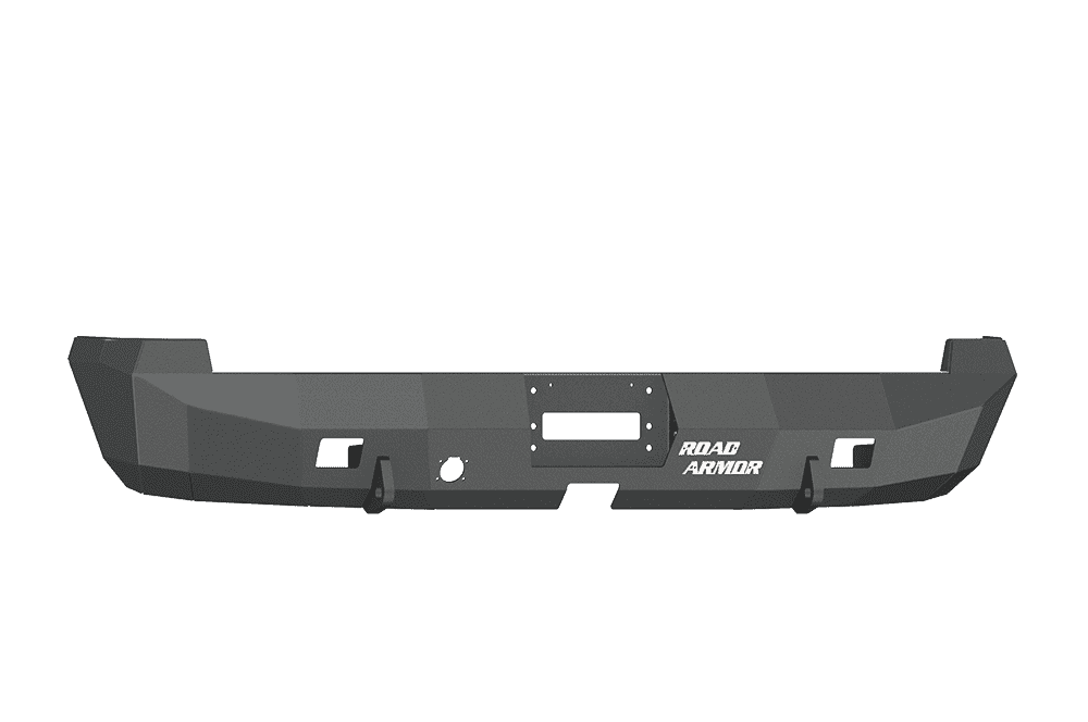 Road Armor 44100B 2003-2009 Dodge Ram 2500/3500/4500/5500 Winch Rear Bumper with Base Guard and Rectangle Light Holes - Satin Black-BumperStock Team
