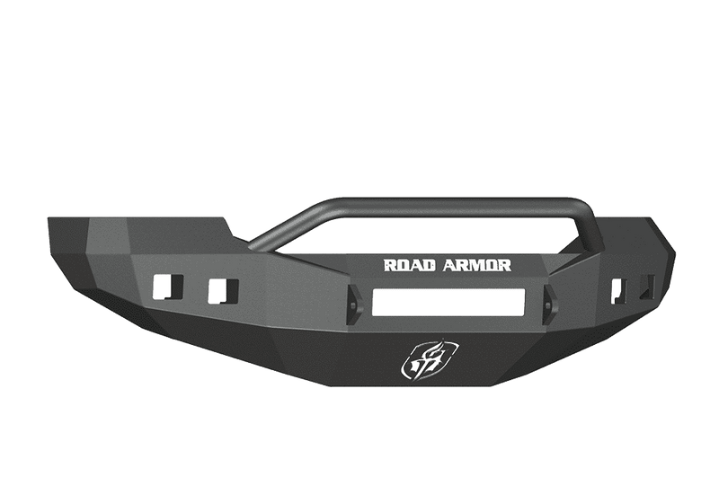 Road Armor 605R4B-NW 2005-2007 Ford F250/F350/F450 / Excursion Non-Winch Front Bumper with Pre-Runner Guard and Square Light Holes - Satin Black-BumperStock