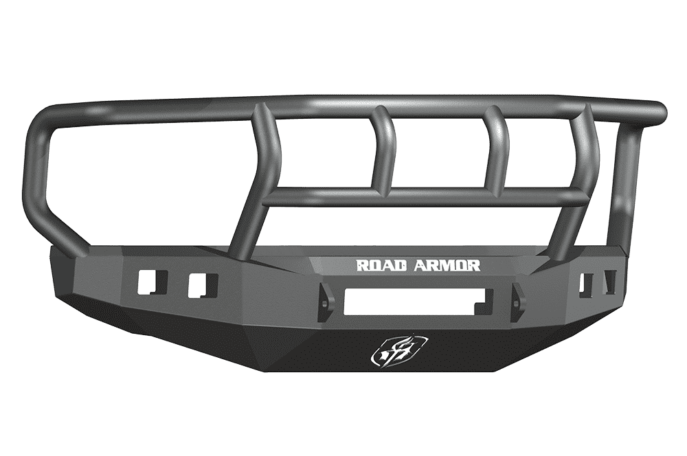 Road Armor 608R2B-NW 2008-2010 Ford F250/F350/F450 Non-Winch Front Bumper with Titan II Guard and Square Light Holes - Satin Black-BumperStock