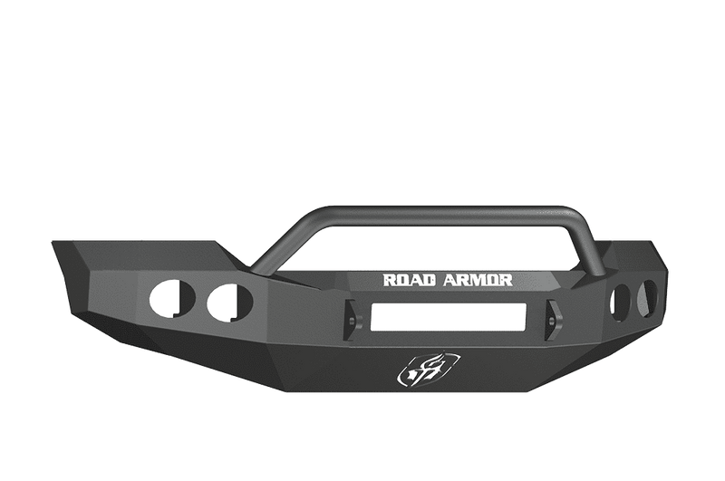 Road Armor 61104B-NW 2011-2016 Ford F250/F350/F450 Non-Winch Front Bumper with Pre-Runner Guard and Round Light Holes - Satin Black-BumperStock