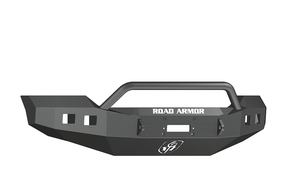 Road Armor 611R4B 2011-2016 Ford F250/F350/F450 Winch Front Bumper with Pre-Runner Guard and Square Light Holes - Satin Black-BumperStock