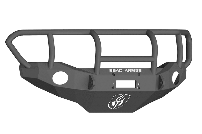 Road Armor FJ801B 2006-2018 Toyota FJ Cruiser Winch Front Bumper with Titan II Guard and Round Light Holes - Satin Black-BumperStock