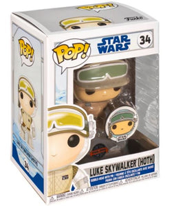 Star Wars: Across the Galaxy Luke Skywalker Hoth US Exclusive Pop Vinyl! 34 with Pin