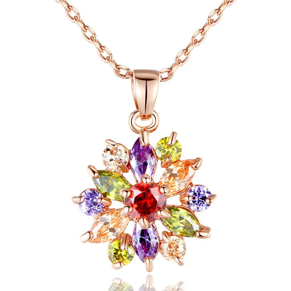 Rose Gold Plated Multicolor Cubic Zirconia Snowflake Charm Pendants Necklaces,15.7+2Adjustable JIN029