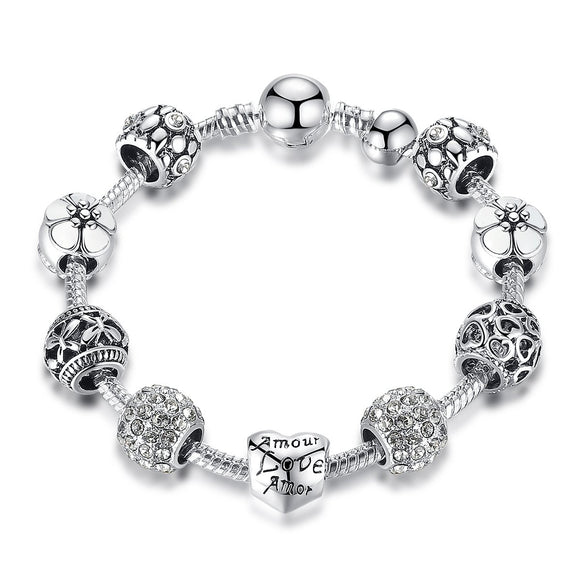 Silver Plated Amour Love Openwork Heart White Flower Charm Bracelets & Bangles for Women Jewelry Accessories PA1503