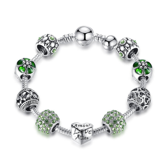 Silver Plated Amour Love Openwork Heart Green Clear CZ Charm Bracelets & Bangles for Women Jewelry Accessories PA1504