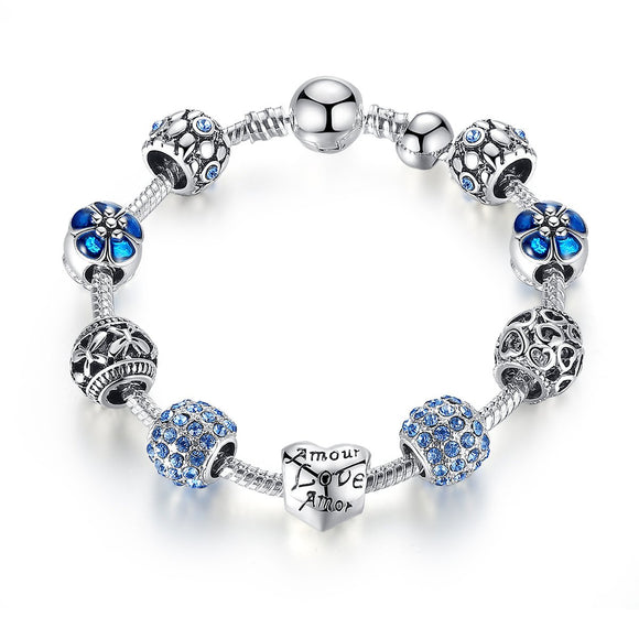Silver Plated Openwork Heart Blue Murano Beads Charm Bracelets & Bangles for Women Jewelry Accessories PA1505