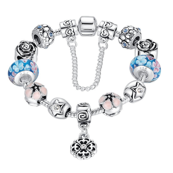 Flower Pendant Crystals Love Safe Chains Lampwork Beads Charm Bracelets PA1833