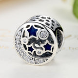 100% Real 925 Sterling Silver Round Blue STARS Clearly CZ Bead Charms Fit Women Bracelets DIY Accessories PAS379