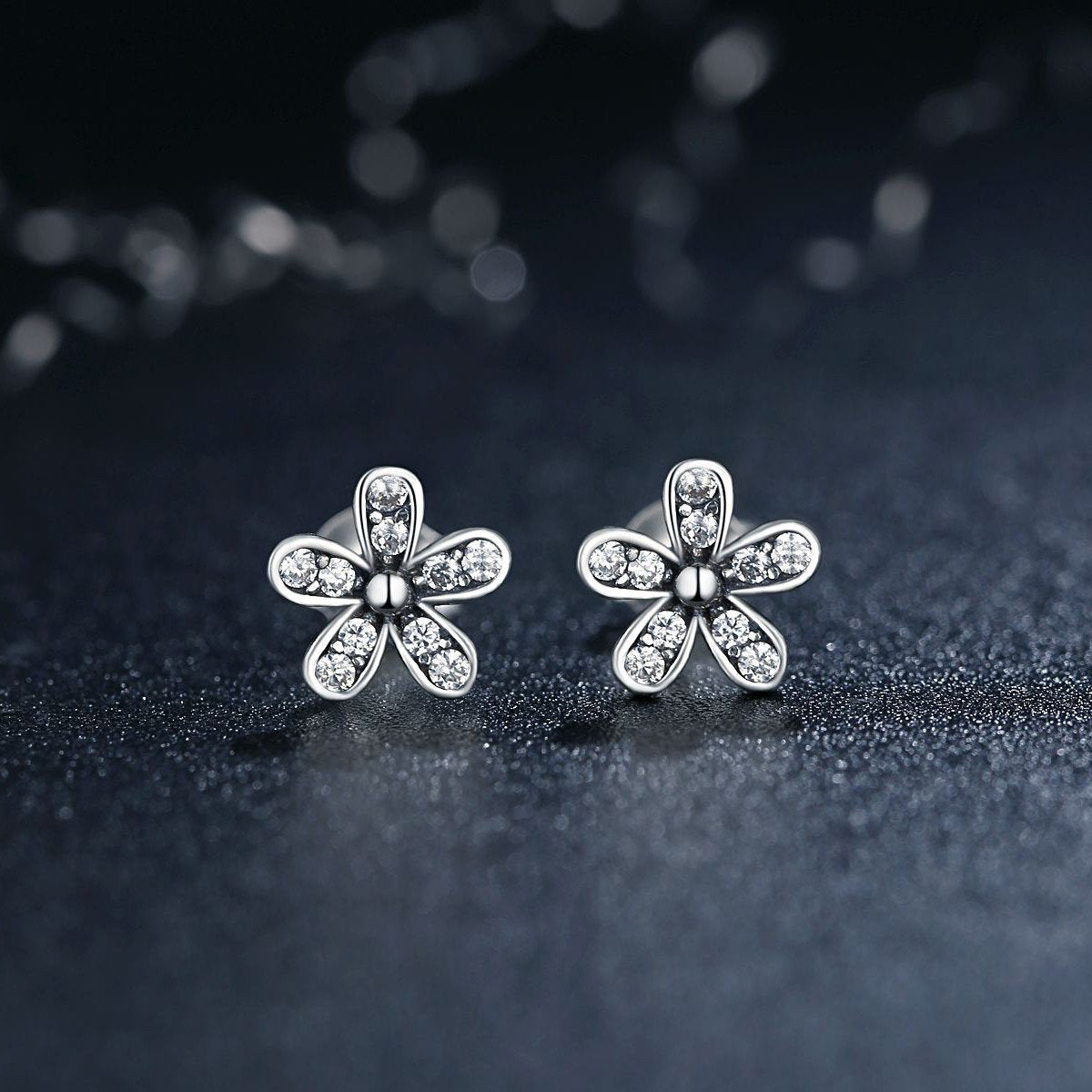 5ba46a988d318 BAMOER 925 Sterling Silver Dazzling Daisy Stud Earrings with Cubic ...
