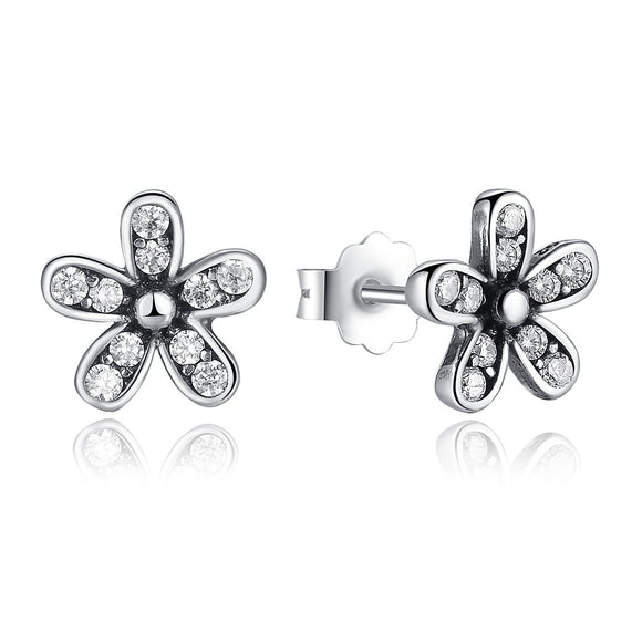 925 Sterling Silver Dazzling Daisy Stud Earrings with Cubic Zirconia PAS403