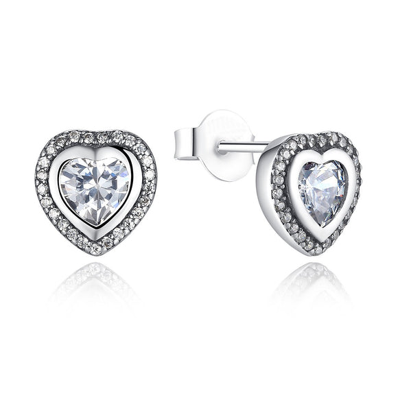 925 Sterling Silver Sparkling Heart Love Stud Earrings with Clear Cubic Zirconia PAS405