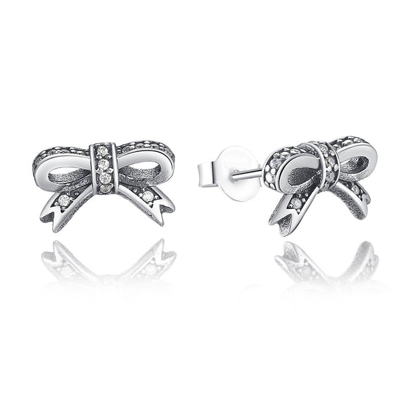 925 Sterling Silver Bow Stud Earrings with Clear Cubic Zirconia for Girls PAS407