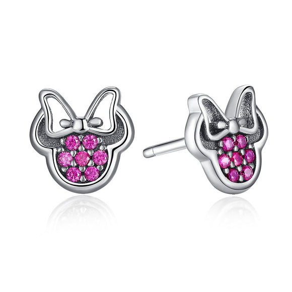 925 Sterling Silver Sparkling Stud Earrings with Purple Cubic Zirconia for Girl PAS414