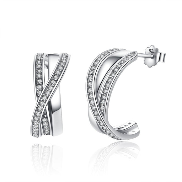 Genuine 100% 925 Sterling Silver Entwined with Clear CZ Stud Earrings for Women 925 Silver Special Store PAS493