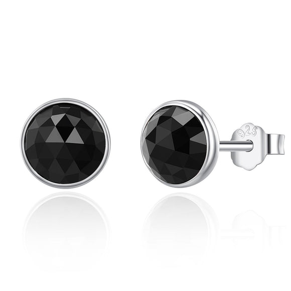 100% 925 Sterling Silver June Droplets Stud Earrings Black Crystal Stud Earrings Women Sterling Silver Jewelry PAS523
