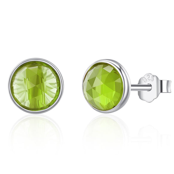 100% 925 Sterling Silver August Droplets Peridot Birthday Stone Stud Earrings for Women Sterling Silver Jewelry PAS525