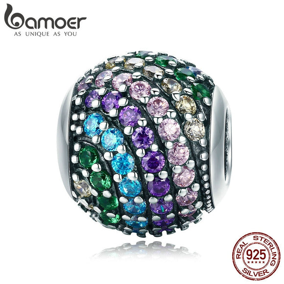 Rainbow Charm Color Crystal CZ Beads SCC820 BAMOER