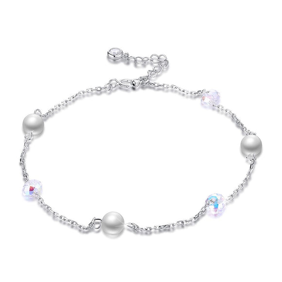 BAMOER 925 Stering Silver 2018 New Crystals form Austrian With Pearl Anklet Wholesale For Women Foot Jewelry SVA601