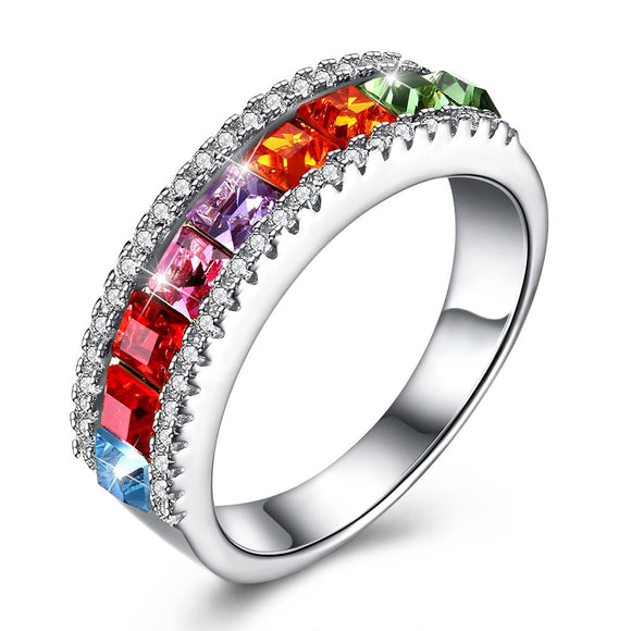 BAMOER 925 Sterling Silver Fashion Color Crystal Rings For Female Wedding Ring Jewelry Best Gift SVR291