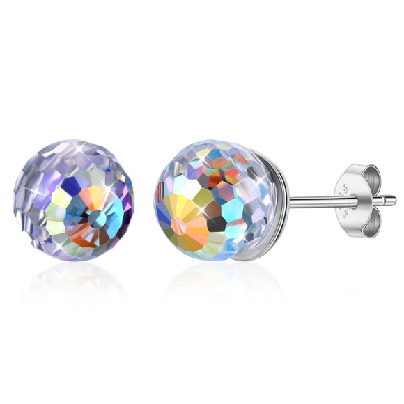 Round Ball  Sterling Silver 925 Stud Earrings Fine Jewelry for Female Party Gift SVE607