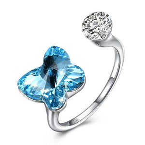BAMOER 925 Stering Silver Crystals from Austrian Butterfly Adjustable Rings For Women Wedding jewelry SVR287