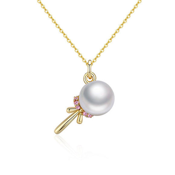 Pearl Pendant  Gold Color Chain Crystals from Austrian Pearl S925 Sterling Silver Pearl Irregular Necklaces SVN384