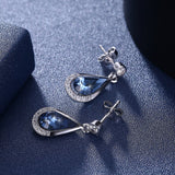 Water Drops Blue Pendant Pop Stud Earrings Jewelry For Women Mother's Day Gift SVE290