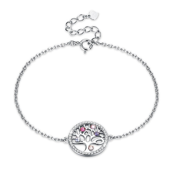 High Quality 925 Sterling Silver Colored Life Tree Crystal Bracelet Crystals from Austrian Jewelry Elegant Chain Bangles SVH241