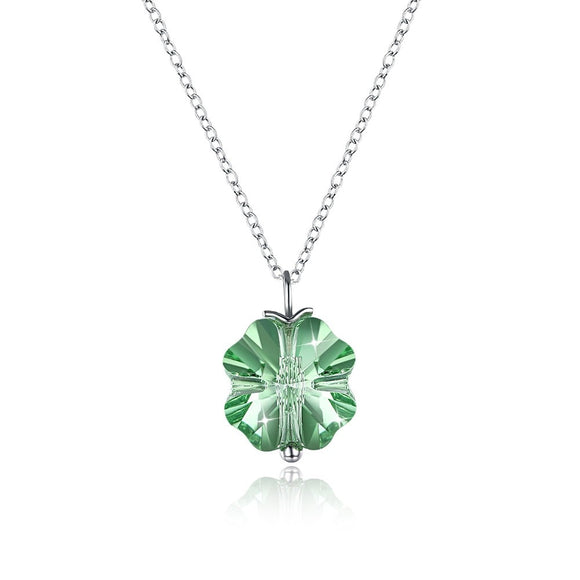 S925 Sterling Silver Green Snowflake Romantic Pendant Necklaces Jewelry Girl Gift Christmas design SVN329