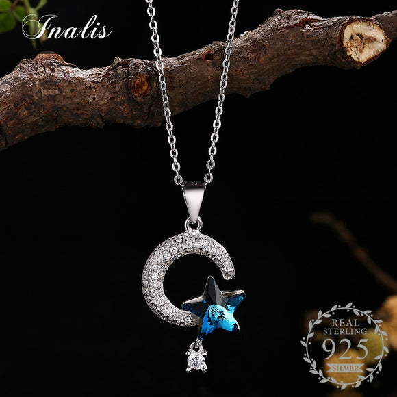 Necklace Moon Pendant with Blue Star Crystal Necklace for Women Fine Jewelry New YHN0019B-BU